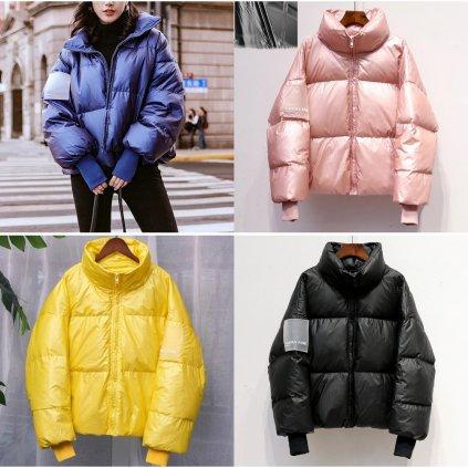 Prošívaná zimní bunda oversize stylová bunda s podšívkou (1)