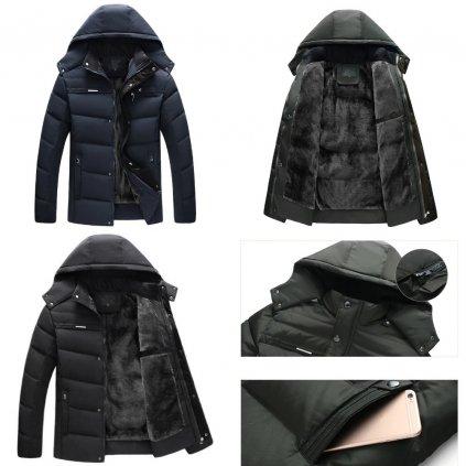 Prošívaná zimní bunda pánská s teplou podšívkou parka s kapucí (9)