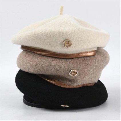 Dámský baret barev nude s pozlaceným okrajem (11)