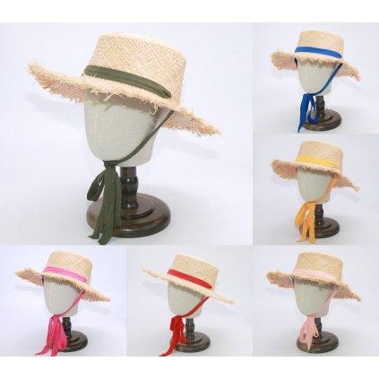 Slaměný klobouk pro dámy s barevnou stuhou na zavazování (4)