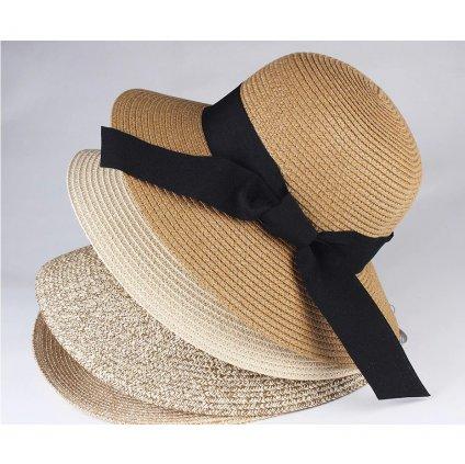 Letní slaměný klobouk s mašli vzadu béžové barvy (21)