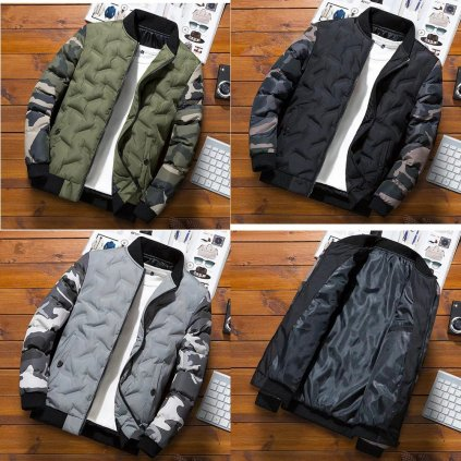 Přechodová bunda na zip prošívaná bunda s maskáčovými rukávy (8)