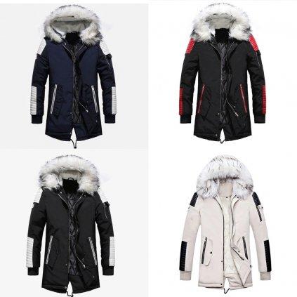 Stylová pánská parka na zip zimní bunda s kapucí a kožešinou (1)