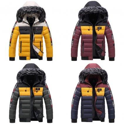 Prošívaná parka nepromokavá bunda s pruhy a kapucí s kožichem (9)