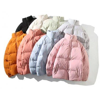 Unisex oversize bunda na zip se stojatým límcem bunda s kapsami (28)