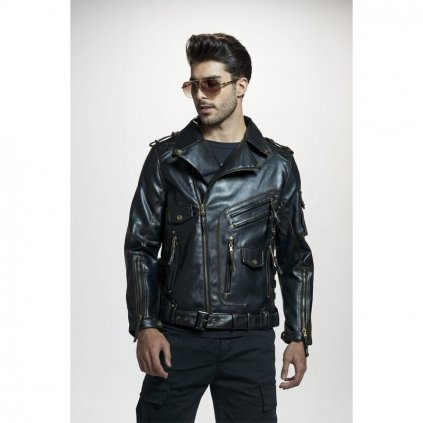 Motorkářská kožená bunda ekluzivní bunda s límcem kapsami a páskem (15)
