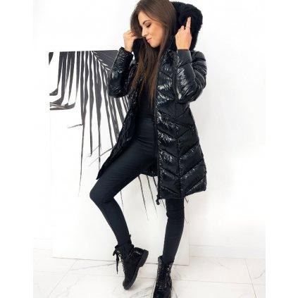 Černý kabát dámská dlouhá bunda zimní s plyšovým kožíškem (5)