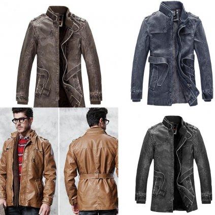 Zimní kožená bunda s kožešinovou podšívkou a páskem v pase (15)