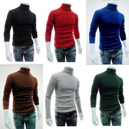 Pánský rolák bavlněný svetr s dlouhým rukávem pletený pulovr (1)