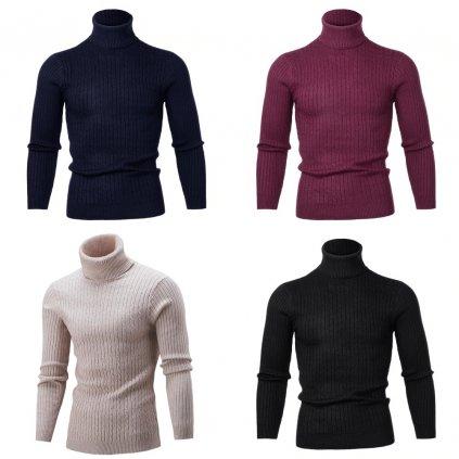 Pánský Žebrovaný svetr bavlněný rolák pletený pulovr pánský (1)