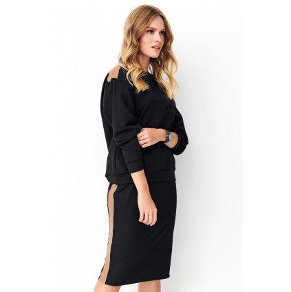Sada bavlněná souprava s pruhovanými aplikacemi svetr + sukně (4)