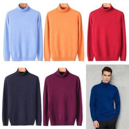 Pánský rolák zimní pletený svetr z jemné viskózy pulovr s rolákem (23)