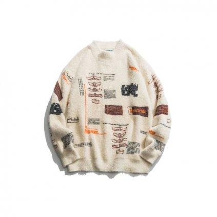 Chlupatý unisex svetr s nápisy pletený hip hop pulovr s potiskem