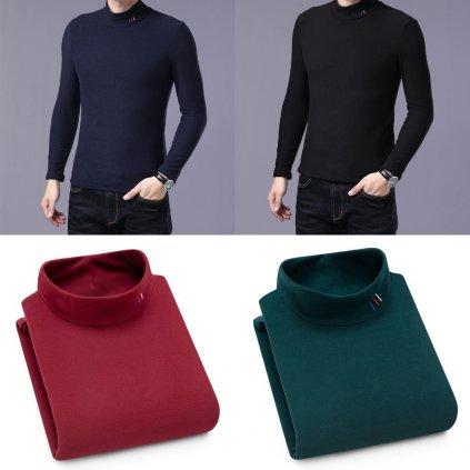 Elegantní svetr elastický pulovr se stojatým límcem (17)