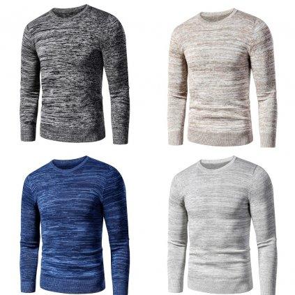 Pánský melanžový svetr zimní pulovr s kulatým výstřihem (13)