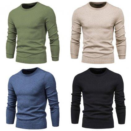 Klasický svetr různé barvy pletený svetr s kulatým výstřihem (27)