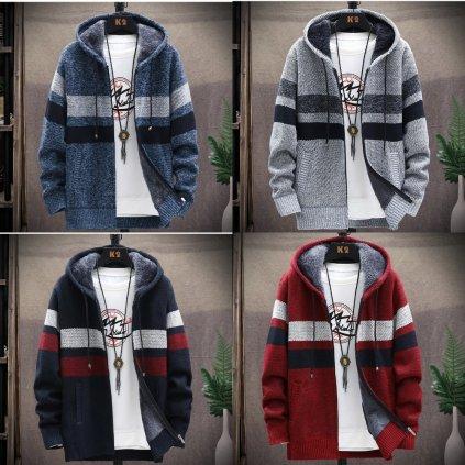 Pánský svetr na zip s kapucí pletená mikina se zapínáním na zip (1)