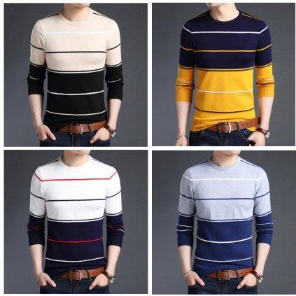 Multi barevný prodyšný svetr pánský svetr s kulatým výstřihem (14)