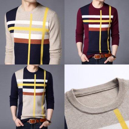Prodyšný viskózový svetr vícebarevný pulovr pruhovaný (6)