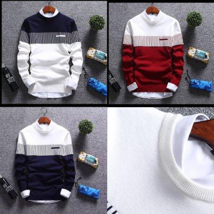 Dvoubarevný svet s límcem a manžetami pruhovaný pulovr (1)