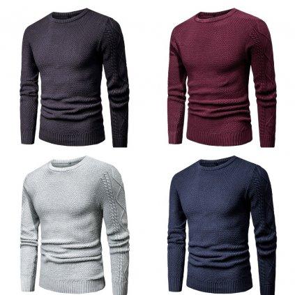 Pánský bavlněný svetr s copánkovými rukávy kulatý výstřih (12)