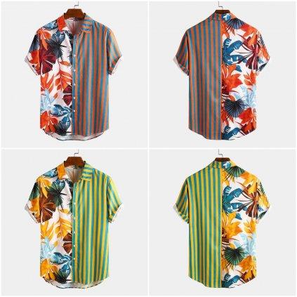Originální pánská košile s potiskem vzorovaná košile pruhovaná (9)