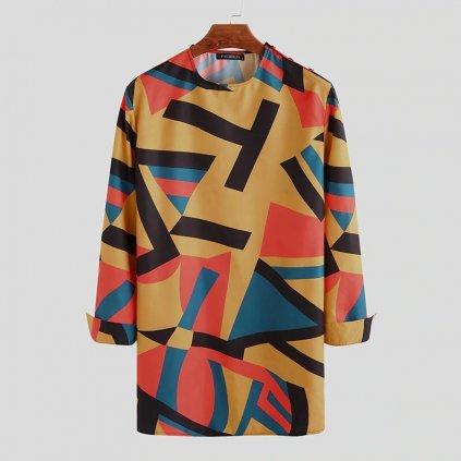 Pánská vintážní košile africký potisk Dashiki dlouhé tričko (1)