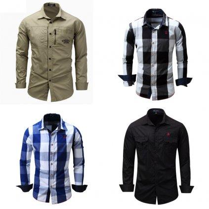 Pánské vzorované košile se zipem kostkovaná košile s kapsami (14)