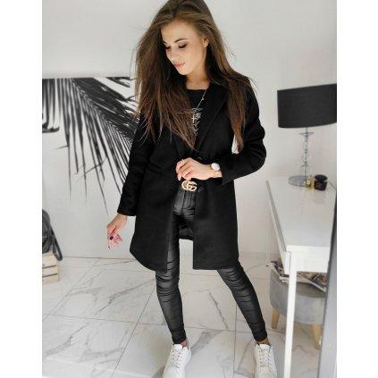 Jednořadý dámský kabát na knoflíky kabát s podšivkou a kapsami (21)