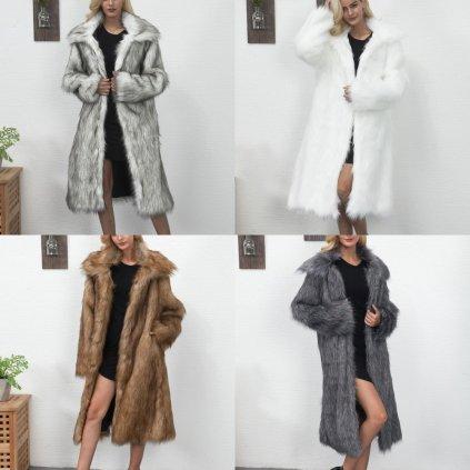 Chlupatý kabát s límcem dlouhý kožich s dlouhým rukávem (1)