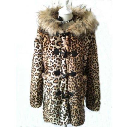 Dámský kabát leopardí kožich gepard vzor s kapucí a kožíškem (2)
