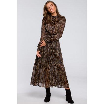 Šifónové midi šaty pod kolena s rolákem a tečkovaným vzorem (10)