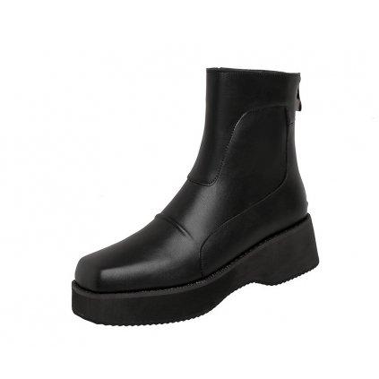 Podzimní kotníkové boty pro dámy s hranrtou špičnou a podpatkem (6)