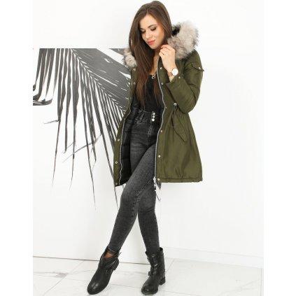 Dámská černá bunda zimní oboustranná parka s kožíškem a kapucí (22)