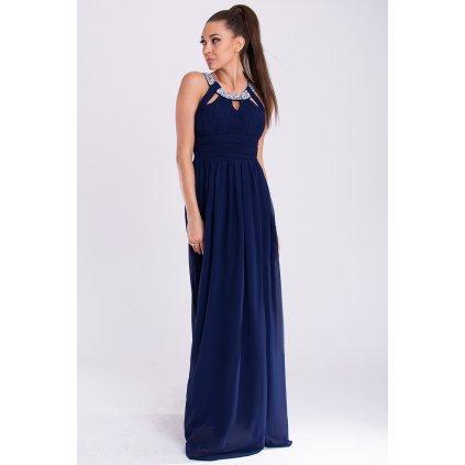 Tmavě modré plesové šaty na ramínka s třpytivým náhrdelníkem