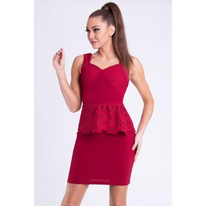 Elegantní dámské šaty nad kolena s krajkovým volánem
