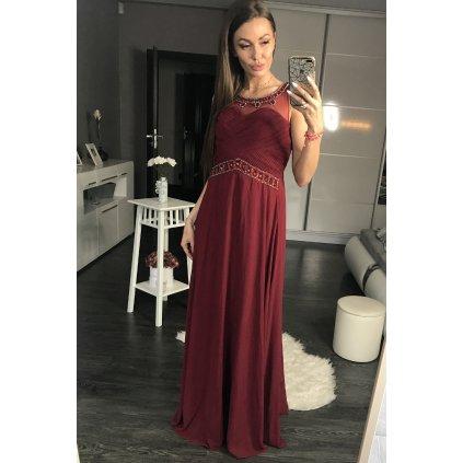 Dlouhé společenské šaty plesové maxi šaty s kamínky