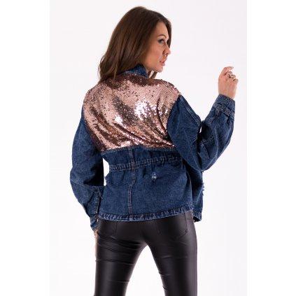 Dámská džínová bunda denim riflová bunda s flitry a kapsami