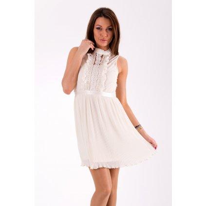 Krajkové mini šaty se stojáčkem síťované šaty bez rukávů