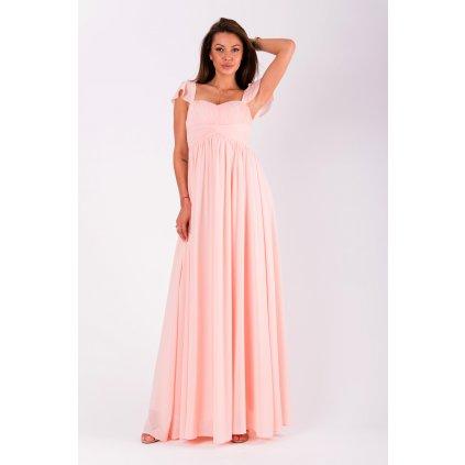 Plesové dlouhé šaty s hranatým výstřihem a krátkým rukávem