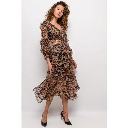 Volánkové šaty květované tylové šaty leopard  zvířecí vzor