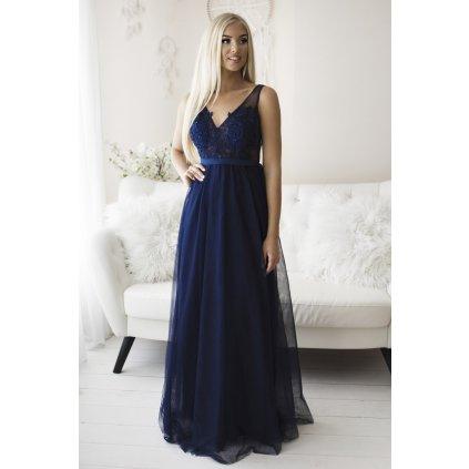 Společenské maxi šaty na svatbu šaty s krajkou a vyšívanými květy