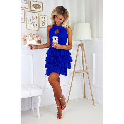 Elegantní Šaty s vrstvenou volánkovou sukní a se slzou na výstřihu