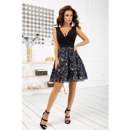 Mini šaty na ramínka se širokou květovavou sukní
