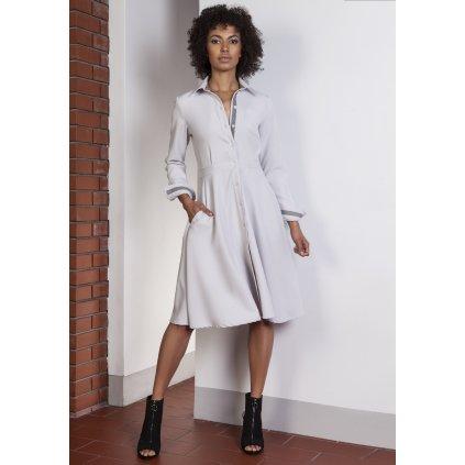 Business šaty košilové s knoflíky s límcem a áčkovou sukní (6)
