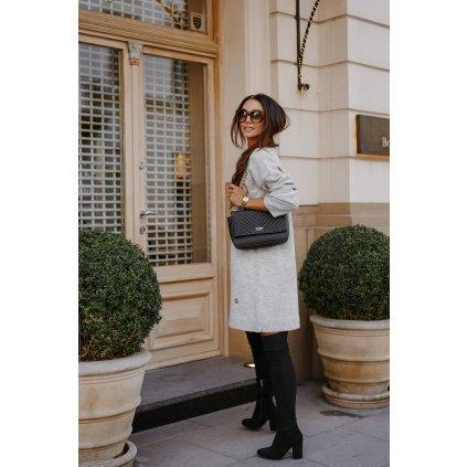 Svetrové šaty s výstřihem pletené šaty pro pozimní a zimní dny