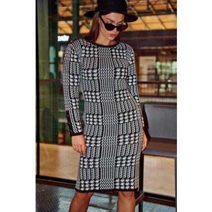 Pletené houndstooth šaty elegantní a přiléhavé kostkované šaty