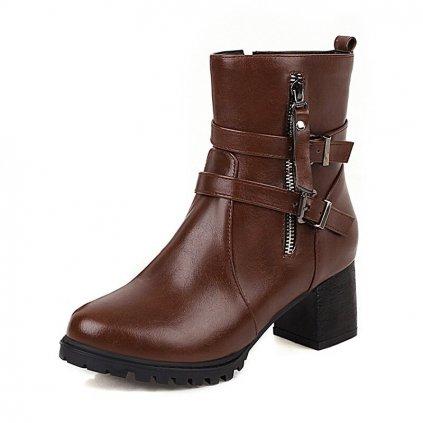 Kožené boty na hranatém podpatku obuv se zipem a pásky (2)