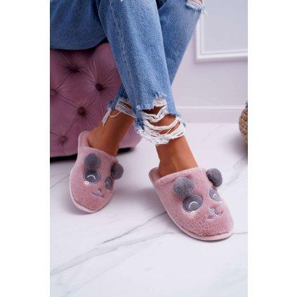 Dámské pantofle s Kožešinou Panda Tmavě Růžové Fimeo