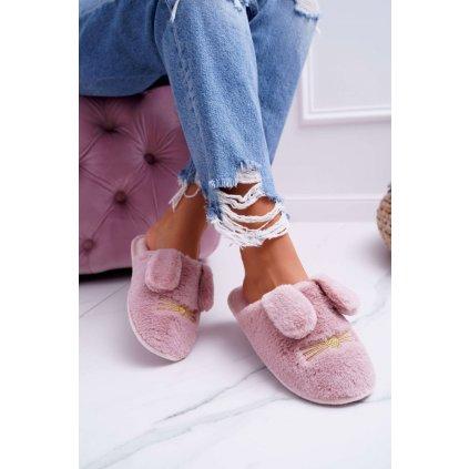 Dámské pantofle s Kožešinou a Ušima Tmavě Růžové Semmi